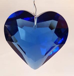 Hjärta 45 mm blå fasettslipat glas köp hos Plantanica