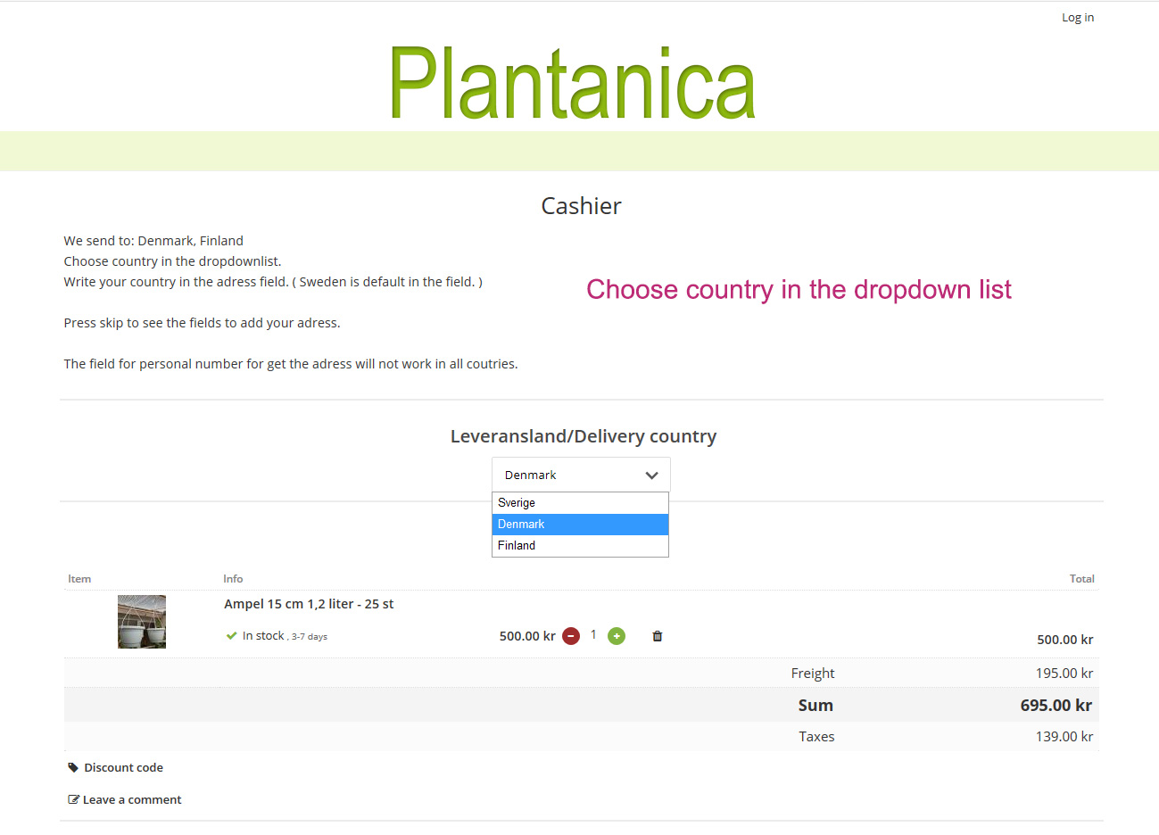 nets checkout for EU costomers at Plantanica